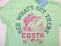 New Authentic Costa Del Mar, High Tide, Mint, Short Sleeve T-Shirt Size 2XL