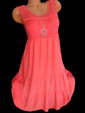 Knielanges Kleid mit Häkelspitze Sommerkleid Lagenlook Trägerkleid Coral 38 40