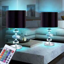 2 x LED Textil Schwarz Nacht Tisch RGB Lampe mit FERNBEDIENUNG Leuchte DIMMBAR