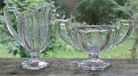 Jefferson Glass Co Chippendale Etched Lavender Glass Creamer & Open Sugar Bowl