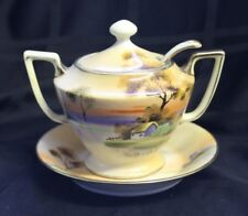 Nippon Hand Painted Jelly Jar with Lid Spoon and Dish Country Scene