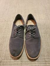 Ecco Gray Leather Suede Casual Comfort Lace Up Walking Shoes Mens EU 45 US 11