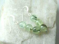 Prehnite Natural Green Gemstone 8mm Ball .925 Sterling Silver Earrings 1.50""