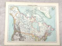 1894 Antique Map of Canada Greenland Alaska Old Original 19th Century French