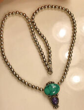 """VTG Navajo Sterling Silver Turquoise purple Pendant Ball Bead Necklace 925 18.5"""""""