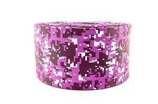 "3"" Wide Purple and Black Digital Camo Printed on Grosgrain Cheer Bow Ribbon"