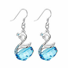 18K White GP Aqua Swan Crystal Earring with Swarovski Element Crystal E63C