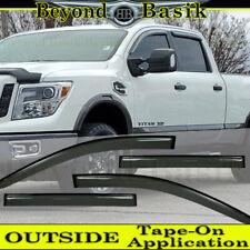 For 2016-2020 Nissan Titan/XD CREW Cab SMOKE Door Vent Window Visor Rain Guards