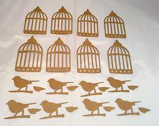 Tim Holtz  Die Cuts: Caged Bird * Kraft Cardstock * Set of 8 * Birdcage and Bird