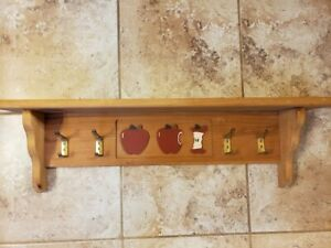 "Solid Wood Wall Shelf Red Apples 4 Hangers Hooks 29.5"" x 8.5"" x 5.25"""