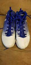 size 13 men under armour basketball shoe blue white washed dried clutchfit