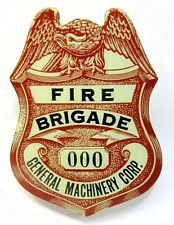 1940's WWII GENERAL MACHINERY CO. FIRE BRIGADE employee Home Front badge pin +