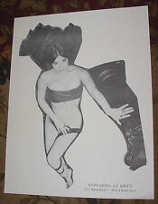 VINTAGE 60's STRIP CLUB POSTER STRIPPER art nude woman Gigi's San Francisco