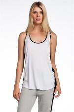 AIKO Women's Weekend Starr Tank Top White Black oversized jersey Contrast Panels