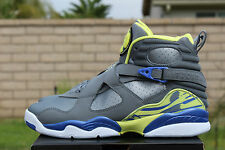 NIKE AIR JORDAN 8 RETRO GS SZ 4.5 Y COOL GREY VOLT ELECTRIC YELLOW 580528 038