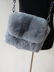 100% real rex rabbit fur shoulder bag/cell phone bag/ art-craft bag women purse