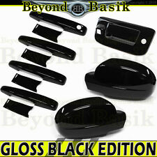 2007-2013 Silverado Crew GLOSS BLACK Door Handle Covers+Mirrors+Tailgate w/Cam