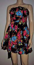 Q E D LONDON Black Multi Colour Floral Print Belted Bandeau Party Dress Size 8