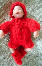 """Doll Clothes Red Outfit 3 pcs Hand-knit Fits 4"""" to 5"""" Artist-sculped Baby Dolls"""