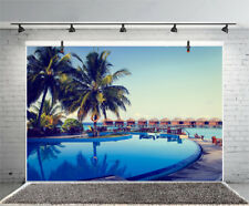 Swimming Pool Cafe Bar Photo Backdrop 10x6.5ft Background Photography Prop Scene