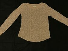 Lucky Brand Womens Size Xs Cream Colored Leopard Print Sweater/Crew neck