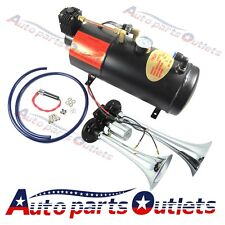120 PSI Air Compressor Complete System + Train Horn Kit Loud Dual 2 Trumpet