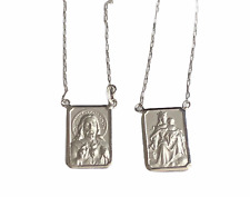 18k White Gold Scapular Medium Medal 4 gr Perfect Images