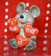 "MOUSE Holding HEARTS LOVE Valentine COLLECT MINI 3"" RESIN Miniature Statue"