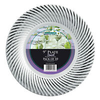 Mashers Clear/ Black/ White Silver Swirl Disposable Plastic Dinner Plates/ Bowls