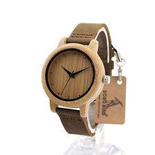 Bobobird Brand Designer Wood Bamboo Watch for Women Quartz Watches Leather Band