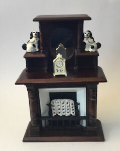 Dolls House Tall Fireplace And Ornaments