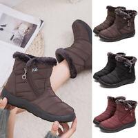Women Winter Warm Fur Lining Ankle Snow Boots Ladies Flat Waterproof Shoes