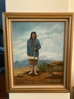 Original Oil on Canvas Painting of Geronimo Signed M. Narramore 1985, MB288