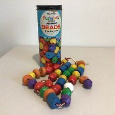 Vintage Playskool Wood Jumbo Beads in Original Container #544
