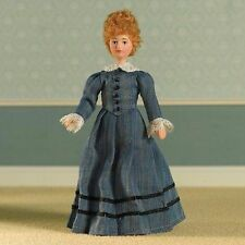 DOLLS HOUSE DOLL 1/12th SCALE  VICTORIAN/EDWARDIAN LADY IN BLUE SATIN GOWN
