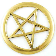 "NEW Brass Pentacle Altar Tile 3"" Openwork Wicca Pagan Pentagram Symbol Metal"