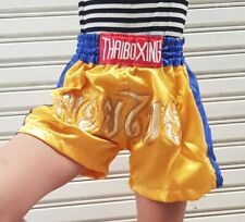 Boxing Shorts Muay Thai Fight Mma Trunks Satin Trousers Kids GirlL Yellow Color