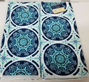 "2 SAME KITCHEN PRINTED MICROFIBER TOWELS (15"" x 25"") MOROCCAN TILE CIRCLES, GR"