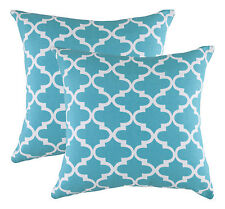 TreeWool 2 Pack Cushion Covers Trellis Accent in Cotton Canvas 40 X 40 Cm Turq