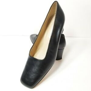 Enzo Angiolini Womens Black Leather Classic Pumps Cuban Heel Square Toe Size 10M