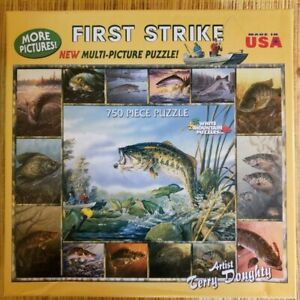 White Mountain Puzzle First Strike Fishing 750 Pieces T. Doughty Bass Brim Trout