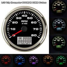 85mm Digital Tachometer 8000RPM 8 Colors Backlight Tacho Gauge Car Marine Yacht