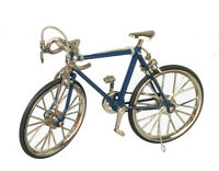 """Dollhouse Miniature - BLUE ALLOY RACING BIKE WITH RUBBER TIRES - 5"""" L x 3"""" H"""