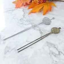 Set of 2 Vintage Japanese Kanzashi Bride Kimono Coin Style Metal Hair Pin Sticks