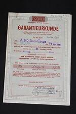ANTIGUO DDR garantía certificado A 140 ESTRELLA Coupe radio antiguo Wartburg