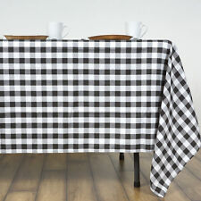 "Black White Checkered 60x126"" RECTANGLE Polyester Tablecloth Picnic Linens"