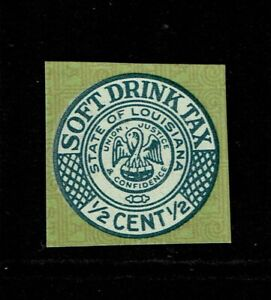 Louisiana 1/2 Cent Soft Drink Tax Stamp (Thick Card) - No Gum - S14105