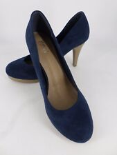 Ladies High Heeled CLOSED Toe Court Shoes Navy UK 6.5 UE 40 ln29 26