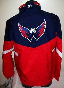 WASHINGTON CAPITALS Starter Jacket Nylon RED & BLUE Sewn Logos S M L XL 2X