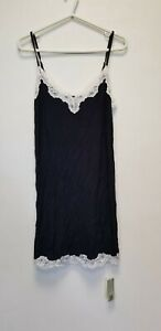 INTIMISSIMI PRETTY FLOWER WOMEN LACE DETAIL  TOP, BLACK SIZE M, NEW ##(ACC3)